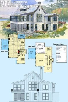 Architectural Designs House Plan 970001VC is designed for your sloping lot. It gives you 3 bedrooms - including the bunkroom with room for 3 bunks - and gives you over 2,200 square feet of heated living space. Ready when you are. Where do YOU want to build?