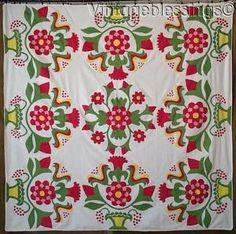 Superb 19th Century Basket Floral Applique Quilt Top Coverlet | eBay