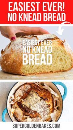 Artisan Bread Recipes, Yeast Bread Recipes, Dutch Oven Recipes, Baking Recipes, Savoury Recipes, Easiest Bread Recipe No Yeast, Knead Bread Recipe, No Knead Bread, One Hour Bread Recipe