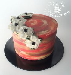 """""""Hot Summer Night"""" - Watercolour Buttercream, with hand piped Buttercream Anemones by Kerrie Wyer Chocolate Buttercream Cake, Buttercream Cake Designs, Buttercream Flowers, Cake Decorating Classes, Cake Decorating Tutorials, Decorating Ideas, Single Tier Cake, Watercolor Cake, Ice Cake"""