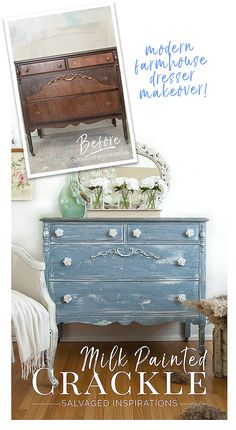 Milk Painted Crackle Paint Finish Before & After - Salvaged Inspirations
