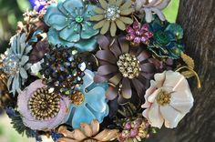 brooch bouquet | Brooch Bouquet for your Wedding in soft Jeweled Tones Mixed colors ... that blue flower