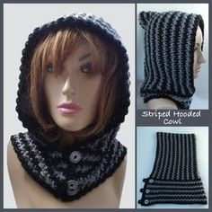 Free crochet pattern for a hooded cowl. The hood part is crocheted first and the cowl is crocheted directly onto the hood. This crocheted hooded cowl is closed at the front with three buttons.