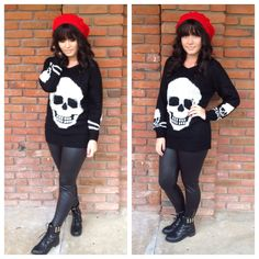 We love our over sized skull sweater $28.00