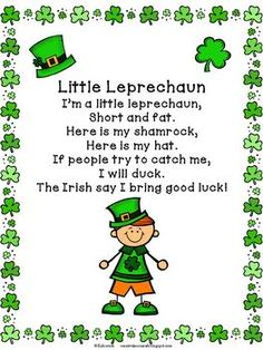 Leprechaun Poem Freebie~ St. Patrick's Day  http://www.teacherspayteachers.com/Product/Leprechaun-Poem-Freebie-St-Patricks-Day-216655
