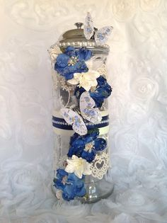 Reneabouquets' Customer Spotlight is on Tracy Bui today!! Tracy created this beautiful off the page project using Reneabouquets handcrafted Shabby Blue Roses Butterflies and My Romantic Heart Lace. If you would like to check out some of Traci's other work, please visit her Facebook page here: https://www.facebook.com/tracicardboutique/  Find your Reneabouquet's Beautiful With An Edge Products here: http://www.Reneabouquets.com or here: http://www.Etsy.com/shop/Reneabouquets