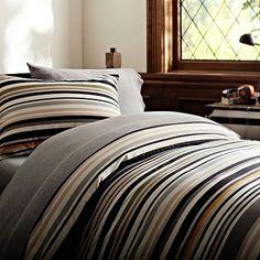 STRADER's Bedding - Cliff Stripe Duvet Cover + Sham #potterybarnteen
