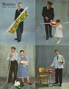 Les huit classes qui font la société française dont chacune possède son mode de vie, ses moeurs, son niveau d'instruction, sa manière de s'habiller, de se distraire. Ici en haut à gauche: un vendeur de tissu dans un magasin de luxe; à droite, un préfet; en bas, à gauche, un ménage de fermiers; à droite, un garçon de café (photo Edouard Boubat) - Réalités n°154, novembre 1958.
