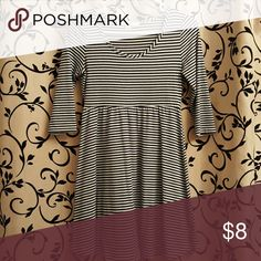 XXI Striped Sleeved Dress 3/4 Sleeves, Navy and White Stripes Forever 21 Dresses Mini