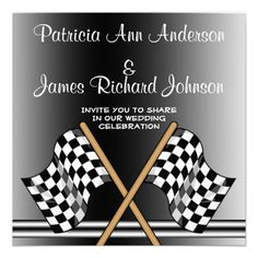 Checkered Flag Racing Wedding Invitation