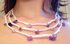 Collana all'uncinetto con pietre viola #crochet #necklace #diy