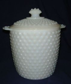 VINTAGE WHITE MILK GLASS HOBNAIL BISCUIT JAR