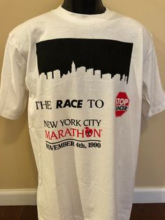 image 0 City Marathon, Vintage Shirts, New York City, Sportswear, Tee Shirts, Nyc, Racing, Cotton, How To Wear