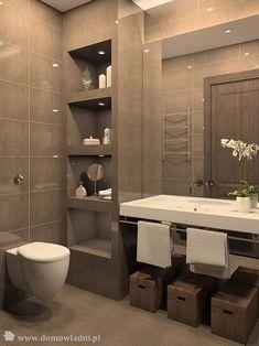 Podświetlane półki wnękowe w łazience - zdjęcie w galerii pomysłów Styl