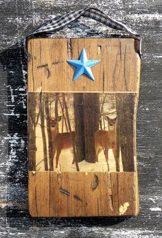 """Rustic Pine Wood Deer Photo Plaque, Deer Photo Transfer on Distressed Pine Wood, Man Cave Rustic Wall Décor, Deer Picture Wall Hanging. RUSTIC WOODLAND DEER PHOTO COLLECTION """"Photos of real Woodland Animals combined with hand distressed pine wood create unique rustic treasures for your home!"""" This Wood Photo Plaque features a pair of sweet """"twin"""" white tailed-deer in the Pocono Mountains in Pennsylvania. These deer curiously peek around trees on a chilly day in Snow-Covered Winter Woods…"""