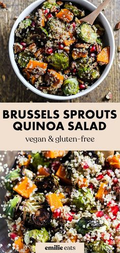 Enjoy the comforting flavors of the season in this Fall Brussels Sprouts Quinoa Salad! It's sweet and salty in a healthy side dish. (vegan Healthy Eating Tips, Healthy Dishes, Vegan Dishes, Healthy Salads, Vegetarian Recipes Dinner, Vegan Recipes, Dhal Recipe, Vegan Party Food, Recipes