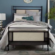 Rhodes Upholstered Metal Canopy Bed | west elm