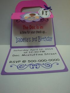 Doc Mcstuffins personalized invitation set of 8. by HappyToons