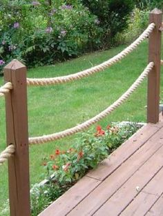 """Decorative rope up the """"approach"""" to the dock.  Very nautical.  Very…"""