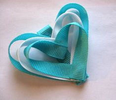 Girls heart bow sweetheart hair clips Toddler heart accessories teal bows Boutique Bows white grosgrain ribbon Handmade unique girls bows. $3.50, via Etsy.