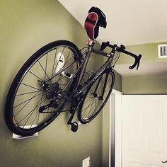 Bike hanger for small spaces.