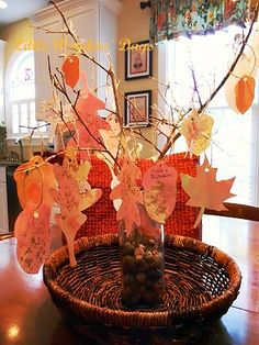 Great idea for fall...maybe have kids write what they are thankful for on the leaves.