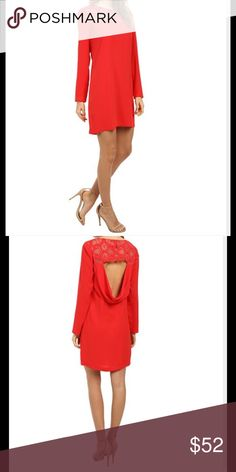 BCBG Emilie shift dress with lace yoke & open back EUC, machine washable, lined, red berry is the color BCBG Dresses