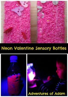 Day 21 - Sensory Bottles Valentine Sensory Bottles   http://adventuresofadam.co.uk/valentine-sensory-bottles/