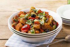 Italiensk brødsalat Frisk, Kung Pao Chicken, Potato Salad, Food Porn, Potatoes, Ethnic Recipes, Red Peppers, Potato, Treats