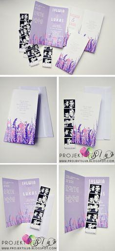 projekt ŚLUB - zaproszenia ślubne, oryginalne, nietypowe dekoracje i dodatki na wesele: WRZOS - Zaproszenie ślubne w kolorach lawendy i wrzosu z foto wkładką