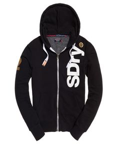 d72eec9ad96 Shop Superdry Mens International Registered Zip Hoodie in Black. Buy now  with free delivery from the Official Superdry Store.