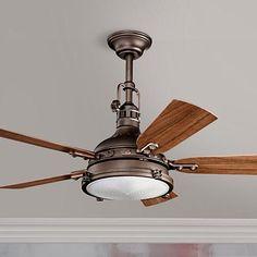 "44"" Kichler Hatteras Bay Weathered Copper Finish Ceiling Fan"