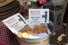 Cowboy trail mix party favors