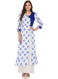 White Cotton Printed Readymade Kurti 100979