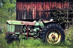 John Deere Tractor antique barn vintage style photograph great man cave garage art for #fathersday #dad #grandpa