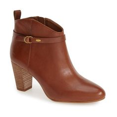 """Lucky Brand 'Mabina' Stacked Heel Bootie, 3"""" heel (275 BRL) ❤ liked on Polyvore featuring shoes, boots, ankle booties, ankle boots, chipmunk leather, stacked heel booties, stacked heel bootie, lucky brand bootie and high heel ankle boots"""