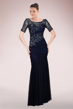 Glamorous Floor-length Sheath Mother of Bride Dress Featuring Lace Applique and Asymmetrical Ruches | Bridalpure.com