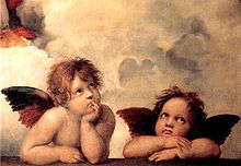 The Sistine Cherubs. I have this in my living room. It's a nice way to have ingognito religous art. I have a 4x6 vintage postcard of the Annunciation tucked in the corner.