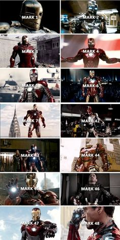 Tony Stark and his armor Mark in the Marvel Cinematic Universe Marvel Films, Marvel Vs, Marvel Dc Comics, Captain Marvel, All Marvel Superheroes, Iron Man Avengers, The Avengers, Lego Iron Man, Marvel Funny