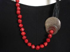 Hammered Silver Red Coral Black Multi Strand  Cord Necklace