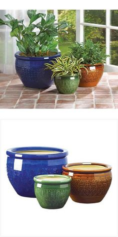 Baskets Pots and Window Boxes 20518: Set Of 3 Pc. Jewel~Tone Flower Plant Pot Yard Garden Decor-38899 -> BUY IT NOW ONLY: $37.79 on eBay!