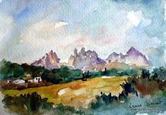 LAURA CLIMENT : DIADA 2014 Montserrat, Russia, Watercolor, Mountains, Blog, Painting, Happy, Happy Holidays, Water Colors