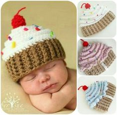 Best Ideas Hat Baby Crochet Color Combos Knitting works add some time when ladies spend their leisure time, when selecting to just knit several things with their. Crochet Cupcake Hat, Crochet Baby Hats, Knitted Hats, Crochet Food, Photo Kawaii, Kids Fever, Before Baby, Infant Activities, Loom Knitting
