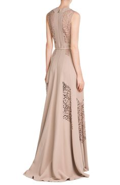 Floor-Length Gown with Lace look detail back