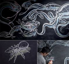 """Behold the work of artist Peter Han who teaches a drawing class called """"Dynamic Sketching"""" using only chalk."""