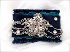 Vintage Shabby Chic Crystal and Recycled Denim by dekonstructed, $25.00