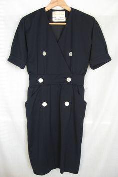Oscar de la Renta Black Dress Medium Size Saks Fifth Avenue Vintage 80
