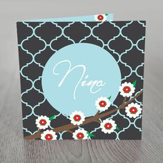 Birth announcement card oriental by nhlcards on Etsy