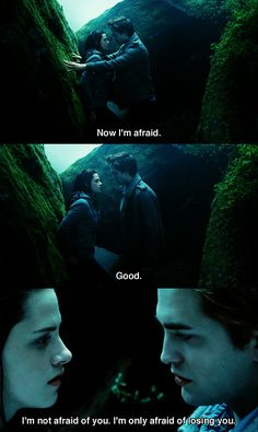 Edward tries to scare away Bella but she's  not having it.  And so the lion fell in love with the lamb.  Stupid lamb.  Sick, masochistic lion.  #Twilight  #RobertPattinson  #KristenStewart