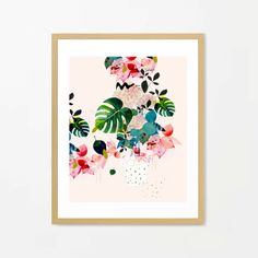 botanical print, watercolor botanical, flower art, green red pink flowers, modern art print, abstract painting, abstract flowers, colorful,